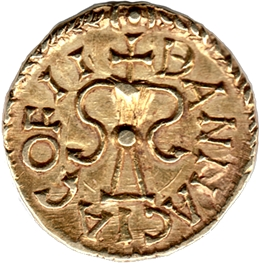 Merovingian gold tremissis, mint of Banassac (dép. Lozère, France), moneyer Maximinus, c. 630