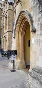 OxDisinfo sign outside New College Oxford