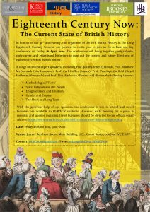 poster advertising the 18th Century now conference at King's College London on the 26th April 2019