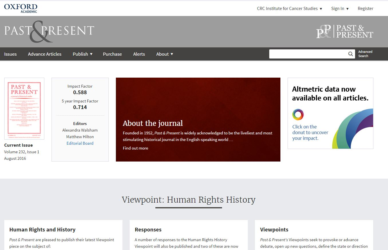 Past & Present's new Oxford University Press journals homepage (OUPAcademic and Past & Present copyright 2016)