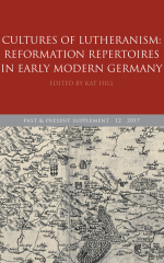 Supplement cover image: red border, P&P logo, map of early modern Germany