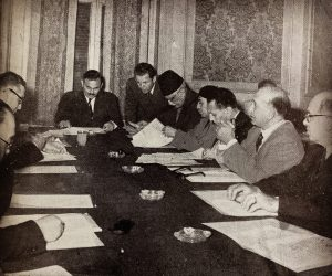 "A picture of the first meeting at the Supreme Council for Arts and Letters in Egypt, 1956. The picture is printed in the Council's first annual report, published in 1957, with the following caption: ""Mr. Kamal el-Din Hussein, the Minister of Education and Head of the Supreme Council for Arts and Letters, presides over the Council's first meeting""."